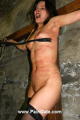Extreme dog-whipping and singletailing of Madeleine on the cross!