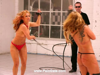 WHIP DUEL - BY FAR ONE OF THE MOST SEVERE BULLWHIP FIGHT EVER PRODUCED!